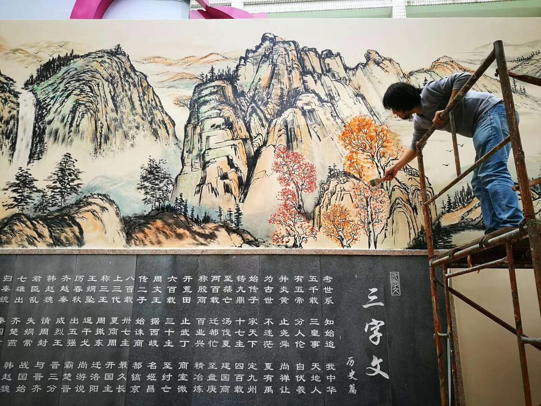 中国画墙绘水墨风格壁画山水画文化墙墙体广告美丽乡村手绘